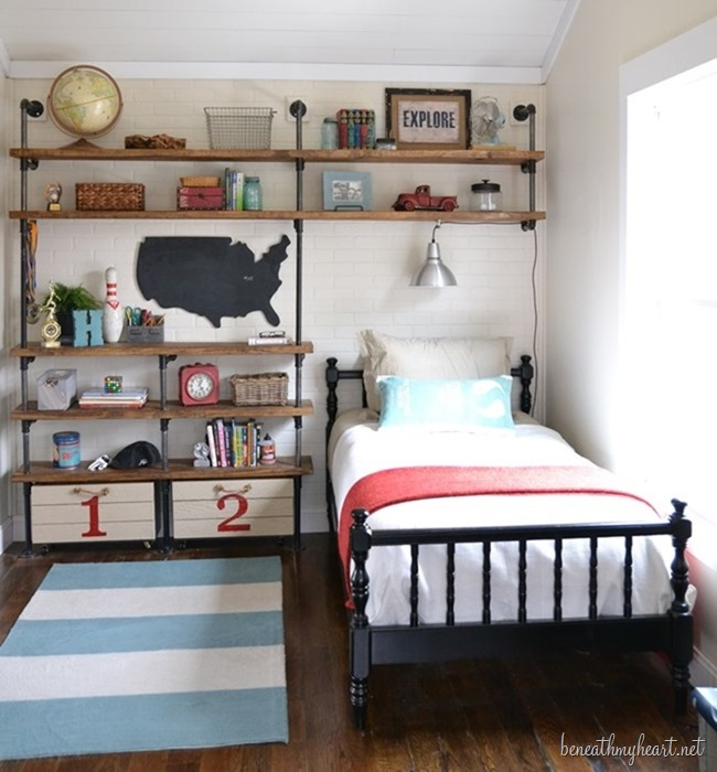 Industrial shelves for a boy s room beneath my heart for Small room ideas pinterest